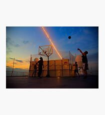 Basketball Game by the Sunset Photographic Print