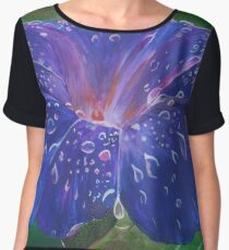 Deep Purple Morning Glory With Morning Dew Women's Chiffon Top