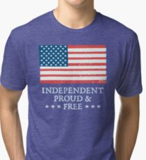 Independent Proud and Free US Flag Tri-blend T-Shirt
