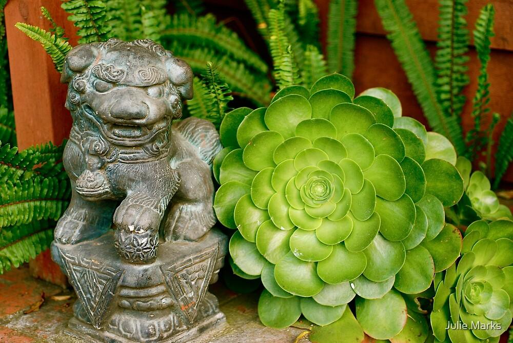 Asian Figure in Succulent Garden by Julie Marks