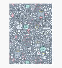 Doodle cats and flowers Photographic Print