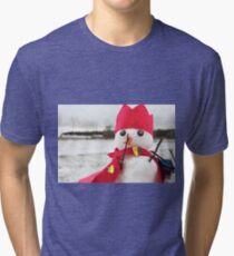 Cute snowmen dressed as a king with crown and cape Tri-blend T-Shirt