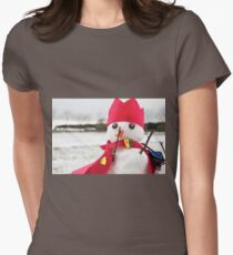 Cute snowmen dressed as a king with crown and cape Womens Fitted T-Shirt