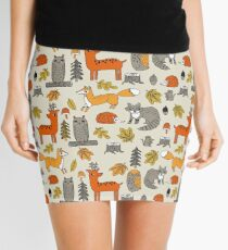 Woodland camping animal nature owl fox deer raccoon cute by andrea lauren Mini Skirt