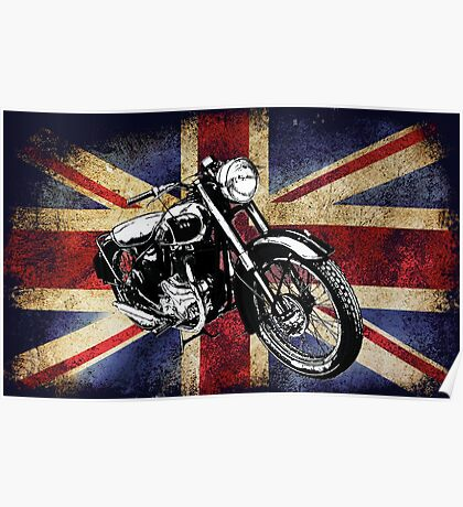 Classic BSA Motorcycle by Patjila Poster