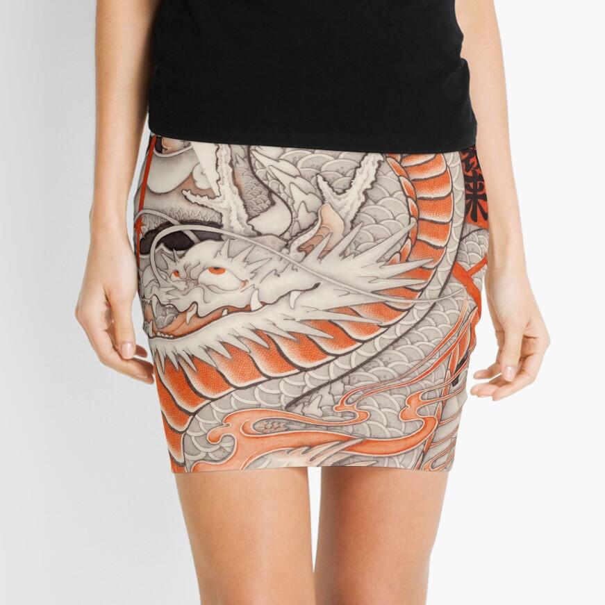 Japanese tattoo typhoon dragon Mini Skirt