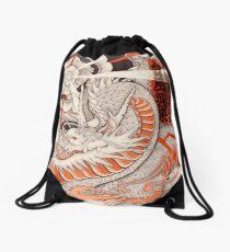 Japanese tattoo typhoon dragon Drawstring Bag