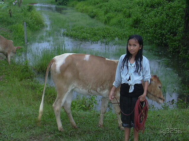 A Girl and Her Cow by sg325is