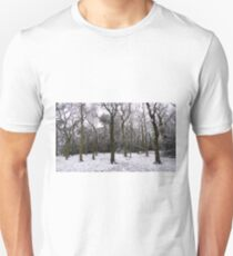 Snow Dusted Naked Trees And Woodland Floor Unisex T-Shirt