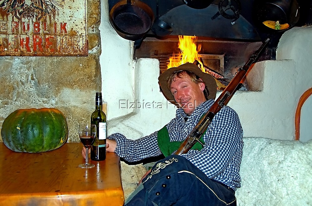 Drunk man with a rifle by Elzbieta Fazel