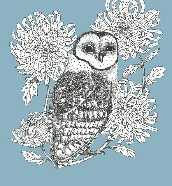owl and chrysanthemums on teal blue background by EllenLambrichts