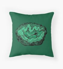 Agate Crystal Gemstone in Emerald Forest Green Malachite Throw Pillow