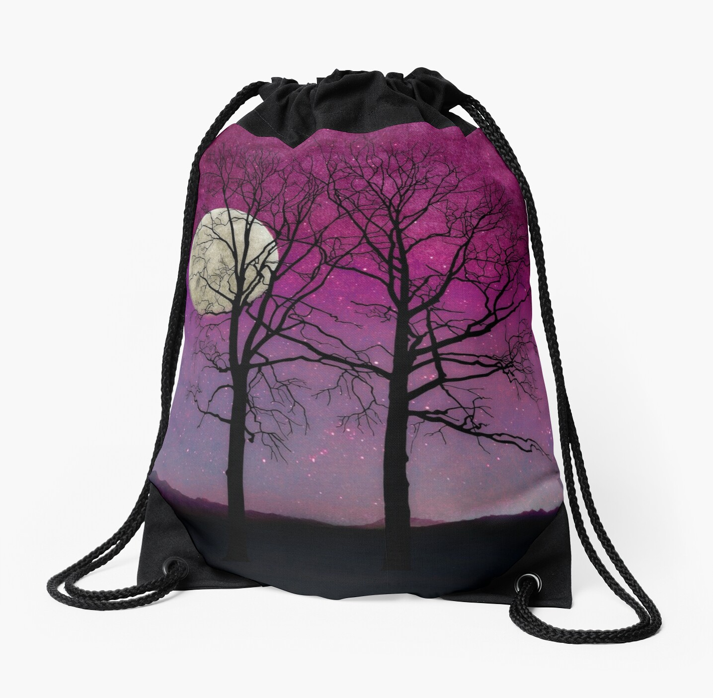 Solitude II Harvest Moon, trees, pink opal sky stars by Glimmersmith