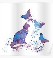 Water color Cat Art Poster