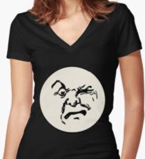 THE MAN ON THE MOON IS AN ANGRY MOFO Women's Fitted V-Neck T-Shirt