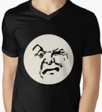 THE MAN ON THE MOON IS AN ANGRY MOFO Men's V-Neck T-Shirt