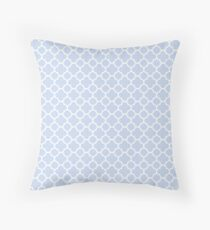 Pale Blue and White Quatrefoil Pattern Throw Pillow