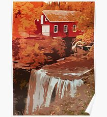 Red Mill at sunset Poster
