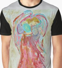 Guardian Angel Painting with Wings White Archangel Graphic T-Shirt