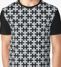 PUZZLE1 BLACK MARBLE AND GRAY MARBLE Graphic T-Shirt