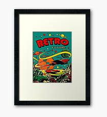 Flying space rocket on alien world, science fiction comics cover Framed Print