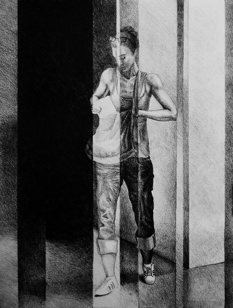 Passenger, 2016, 50-38 cm, graphite crayon on paper by oanaunciuleanu