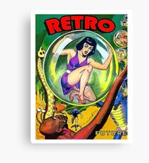 Girl in a bubble, science fiction, fantasy vintage poster Canvas Print