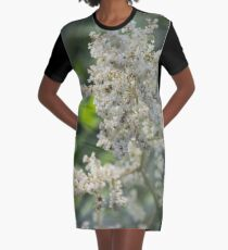 White Lacy Flower Graphic T-Shirt Dress