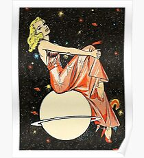 Blond woman on a planet, science fiction, fantasy, vintage poster Poster