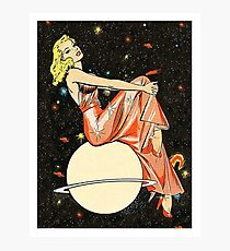 Blond woman on a planet, science fiction, fantasy, vintage poster Photographic Print