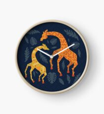 Dancing Giraffes with Patterns Clock