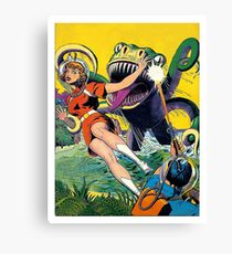 Green monster attack from the water, sci-fi, fantasy poster Canvas Print