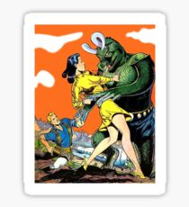 Green monster attack dark haired, young woman, sci-fi, fantasy poster Sticker