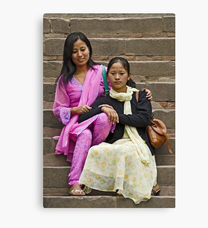 Girlfriends posing Canvas Print