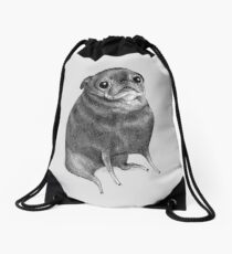 Sweet Black Pug Drawstring Bag