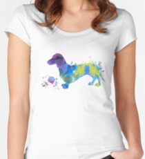 Water color dachshund art Women's Fitted Scoop T-Shirt