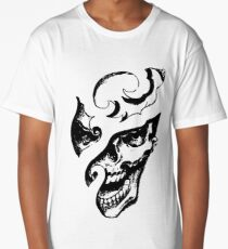 Carved Laughing Gothic Skull Graphic T-shirt Collections Long T-Shirt