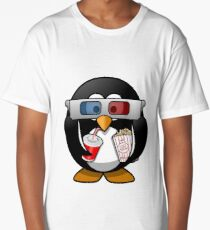 MOVIES AND CHILL 3-D PENGUIN FUNNY Long T-Shirt
