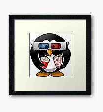 MOVIES AND CHILL 3-D PENGUIN FUNNY Framed Print
