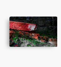 Old  ruined  wall in sunset Canvas Print