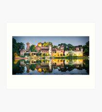 Torino, il Borgo Medievale riflesso nel Po all'alba Art Print