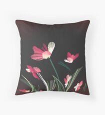 flowers, wind, salmon grass bend Throw Pillow