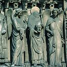 Saint Denis with his head, Facade Notre Dame Paris  19840818 0053 by Fred Mitchell