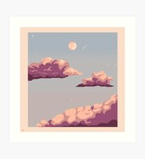 Pastel clouds and night sky Art Print