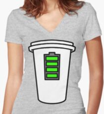 Coffee = Human Charger  Women's Fitted V-Neck T-Shirt