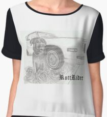 RottRider!  Rottweiller with his C-ride! Women's Chiffon Top