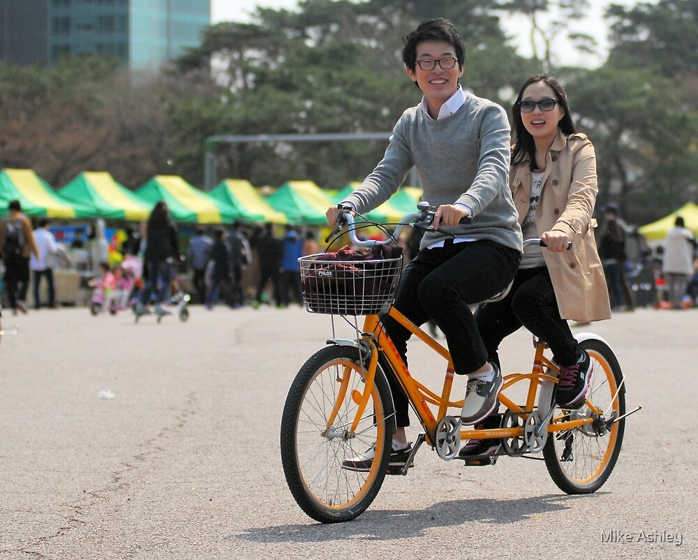 Couple on Tandem Bike by Mike Ashley