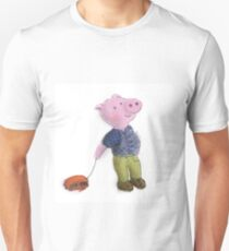 Piglet with red bus toy Unisex T-Shirt