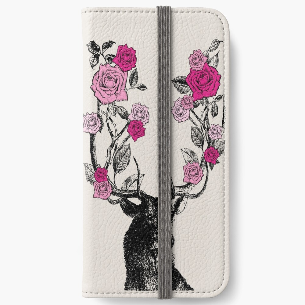 The Stag and Roses | Deer and Roses | Stag and Flowers | Deer and Flowers | Vintage Stag | Antlers | Woodland | Highland | Pink and Beige |  iPhone Wallet