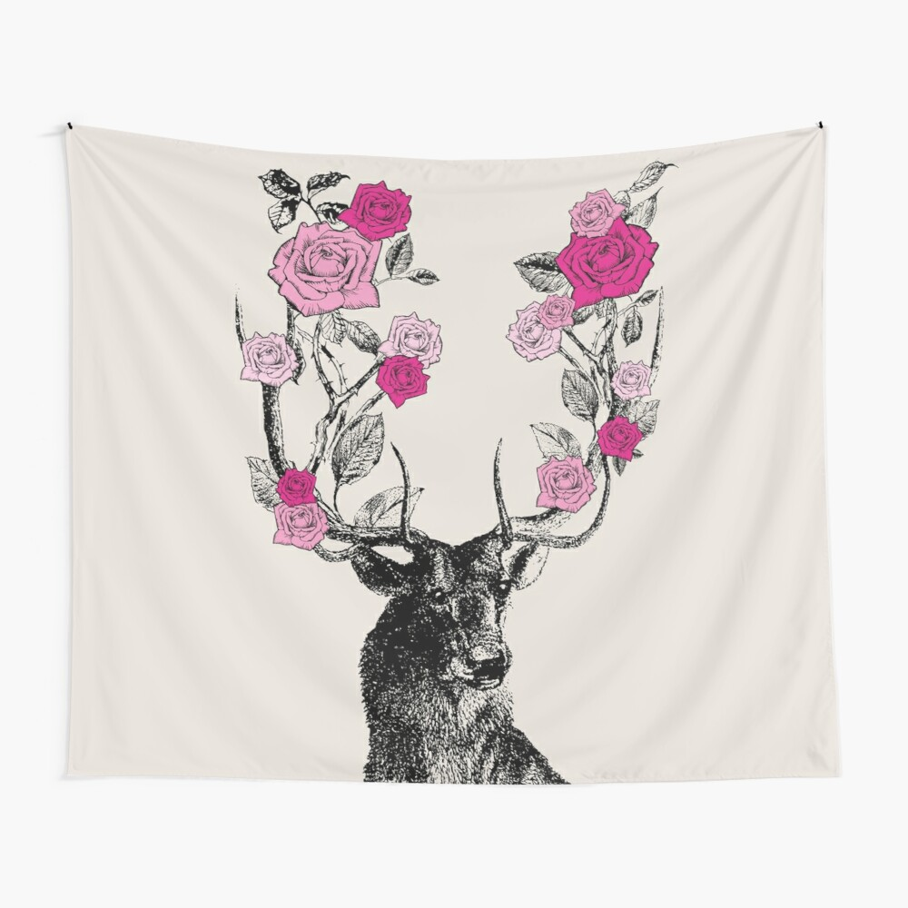 The Stag and Roses | Deer and Roses | Stag and Flowers | Deer and Flowers | Vintage Stag | Antlers | Woodland | Highland | Pink and Beige |  Wall Tapestry